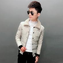 棉袄男2020te4式冬季新wa式棉衣快手同式帅气外套修身毛领潮