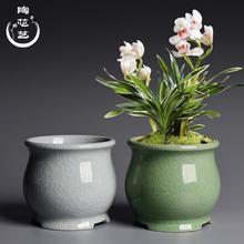 创意桌te绿植盆景盆as专用陶瓷哥窑开片家用吊兰兰花