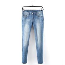 外贸工厂尾te2柔软弹力as磨白低腰女(小)脚裤牛仔裤显瘦铅笔裤