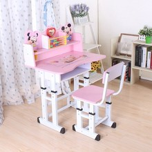 (小)孩子te书桌的写字es生蓝色女孩写作业单的调节男女童家居