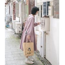 忠犬(小)te梨形自制-it衣裙-长袖褶皱收腰显瘦紫色连衣裙学生女