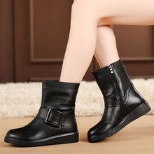 秋冬季te鞋平跟女靴en子平底靴加绒棉靴女棉鞋大码皮靴4143