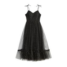 Destegner ens 法国复古裙子山本2020时尚亮片网纱吊带连衣裙超仙