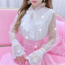 韩国2te20新式蕾en网纱白衬衫减龄仙女系带衬衫长袖衬衣上衣女
