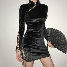 WEEteEEK 复en性感绑带开叉镂空丝绒修身显瘦改良连衣裙女