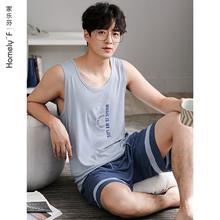 睡衣男te夏季莫代尔sf心无袖短裤家居服青年夏天薄式冰丝套装