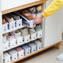鞋柜(小)te用鞋子收纳en调节双层鞋托宿舍省空间置物整理架