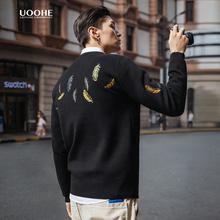 UOOteE刺绣情侣ap款潮流个性针织衫春秋季圆领套头毛衣男厚式