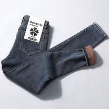 冬季加tf牛仔裤女高mm19新式外穿抖音网红加厚保暖显瘦(小)脚裤子