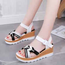女坡跟夏季学生时尚一字扣厚tf10坡鞋中qps潮仙女风