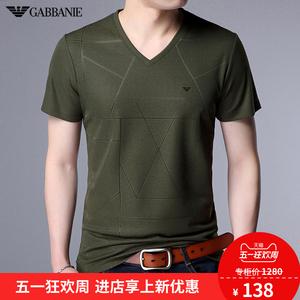 奇阿玛尼亚短袖T恤<span class=H>男装</span>冰丝V领<span class=H>时尚</span>休闲纯色丝光棉t恤衫薄款上衣