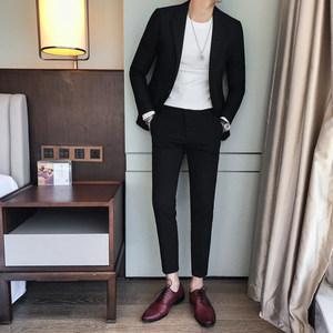 韩版休闲一粒扣小西装男春装帅气一套西服修身小脚九分裤两件套潮