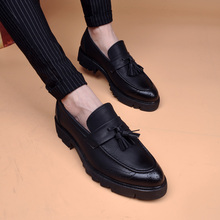 Spring Block high-heeled fringed breathable pointed men's shoes Business casual shoes dating shoes increased within men