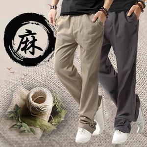 亚麻裤男夏季薄款休闲宽松直筒棉麻裤中国风大码长裤男装<span class=H>运动裤</span>子