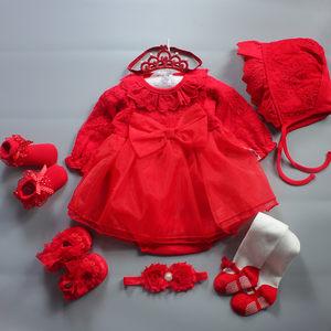 女婴儿礼盒公主<span class=H>衣服</span>冬季新生长袖连衣裙子春秋款宝宝满月周岁礼服