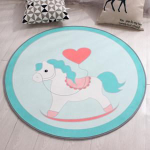 欧式简约卡通圆形地毯儿童卧室床边地垫电脑椅吊篮垫子防滑可机洗