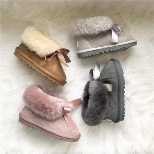CRL羊皮毛一体雪地靴儿童保暖丝带翻毛<span class=H>童鞋</span>亲子鞋防滑耐磨牛筋底
