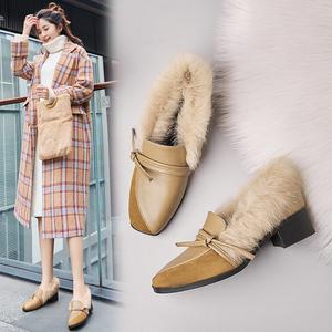 2018秋冬加绒保暖兔毛<span class=H>女鞋</span>  方头粗跟英伦时尚毛毛鞋  韩版豆豆鞋