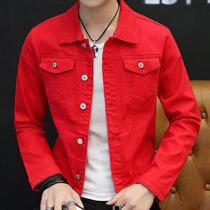 春款男士牛仔外套青年修身帅气韩版潮流牛仔<span class=H>夹克</span>上衣红色外衣