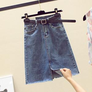 欧洲站牛仔裙女夏季2019新款弹力毛边包臀中裙潮显瘦一步半身裙子