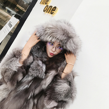 Flame Queen 2019 New Winter Fashion Coloured Fox Fur Coat, Leather Coat, Female Big Hat Doll Edition
