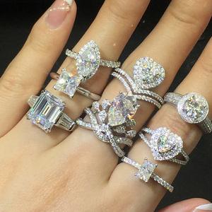 定制订做个性莫桑石戒指女男铂金白金钻石吊坠裸石梨形方心形宝石