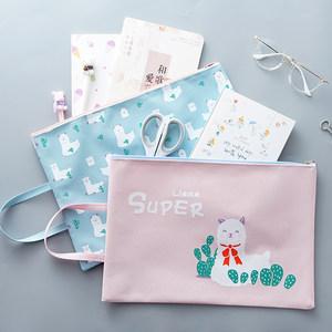 包邮A4手提牛津布拉链文件袋韩国可爱帆布学生小清新档案袋WJ567