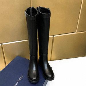 不过膝长靴皮带扣马靴女真皮厚底平底<span class=H>高筒靴</span>低跟后拉链欧美骑士靴