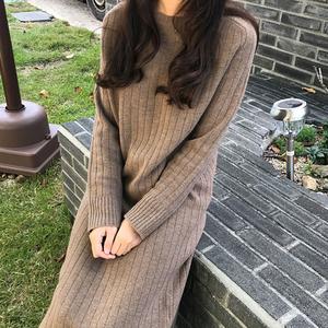 韩国春季<span class=H>女装</span>针织打底连衣裙宽松大码加厚超长款过膝套头毛衣裙女