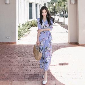 韩版2019夏季女装新款修身显瘦V领名媛气质<span class=H>长裙</span>连<span class=H>衣</span>裙印花长款
