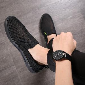 男<span class=H>鞋</span>夏季透气网<span class=H>鞋</span>男士帆布<span class=H>鞋</span>韩版潮流板<span class=H>鞋</span>百搭一脚蹬懒人网面<span class=H>鞋</span>男