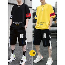 Summer 2019 New Men's Short Sleeve T-shirt Fashion Clothes Men's Suit Matches Handsome Leisure Suit Fashion Brand