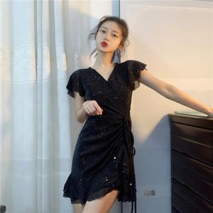 春装2019款女装连衣裙女春秋韩版时尚性感V领不规则显瘦包臀短裙
