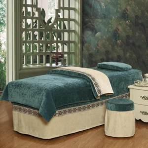 新款高档美容<span class=H>床罩</span>四件套 加厚雪尼尔美容院专用床品 纯色按摩床套