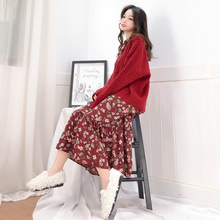 Hong Kong-style retro chic platter dress French niche chiffon floral dress doll skirt female autumn and winter base skirt