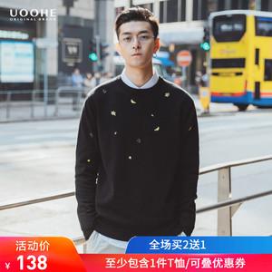 UOOHE男士针织衫 2019春季新款黑色打底衫 时尚潮流刺绣加厚毛衣