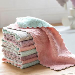 双面吸水厨房清洁洗碗布不粘油双色不掉毛可挂式抹布百洁布珊瑚绒