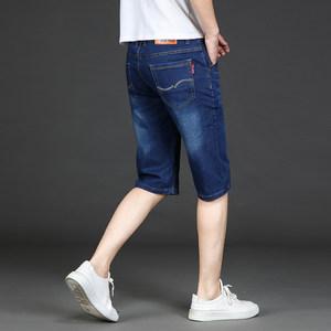 2019夏季薄款弹力弹性牛仔<span class=H>短裤</span>男七分裤男裤子男装7分中裤马裤子