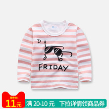 Baby Cotton Cartoon T-shirt Boys and Girls Spring and Autumn New Round-collar Stripe Top Children's Leisure Bottom Shirts