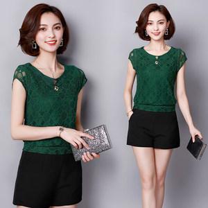 2019女式短袖打底衫夏装雪纺蕾丝衫新款韩版显瘦上衣百搭气质T恤
