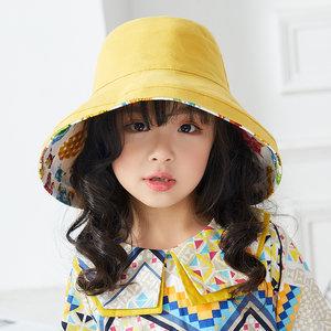 4-8岁儿童渔夫帽韩版时尚女童大帽檐女孩帽子防晒防紫外线<span class=H>遮阳帽</span>
