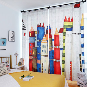 儿童房半遮光男孩卧室卡通窗帘北欧风简约客厅印花布帘成品可定制