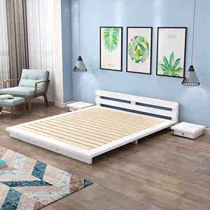 实木床简易储物1.8床头靠垫软包家用1.5双人床单人床简约现代工厂