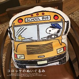包邮 日本 可爱 卡通 史*比 巴士bus小狗狗软绵绵毛绒抱枕靠垫