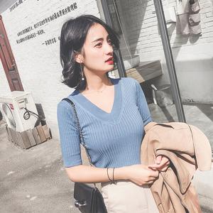 2018新款修身v领性感针织衫女夏短袖紧身冰丝内搭短款打底衫上衣