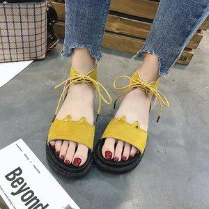 夏季<span class=H>女鞋</span>子2018新款女<span class=H>凉鞋</span>平底低跟松糕跟厚底罗马鞋系带休闲鞋女