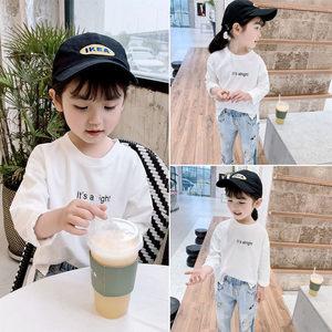 女童T恤2019春装新款儿童白色纯棉打底衫宝宝长袖洋气字母<span class=H>上衣</span>潮1