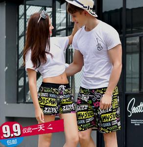 情侣<span class=H>沙滩</span><span class=H>裤</span>夏宽松<span class=H>休闲</span>大码五分中花<span class=H>裤</span>男女短潮<span class=H>裤</span>大<span class=H>裤</span>衩潮夏季七分