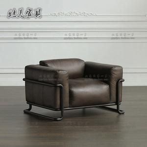 单座真皮沙发复古头层牛皮美式loft铁艺沙发酒吧卡座单人休闲躺椅