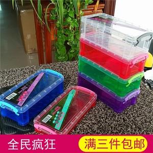 长方形塑料透明整理盒 铅笔蜡笔收纳盒 日常<span class=H>用品</span>学习文具存储盒